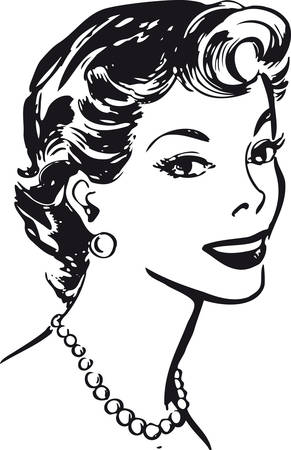 Smiling woman, retro vector illustration 일러스트