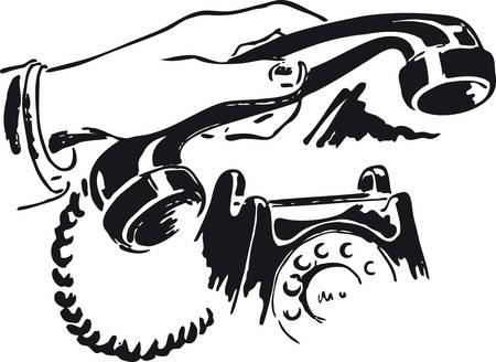 Phone call, Retro Vector Illustration Çizim