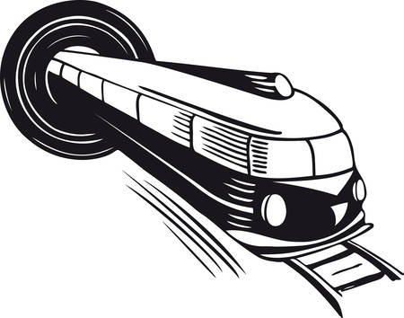 Train coming out of a tunnel, Retro Vector Illustration