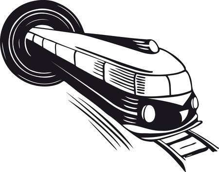 Tren saliendo de un túnel, ilustración vectorial retro Ilustración de vector