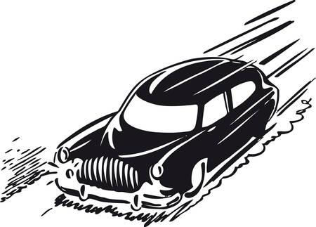 Fast car, Retro Vector Illustration