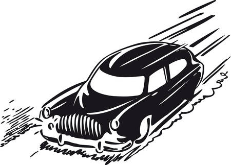 Fast car, Retro Vector Illustration