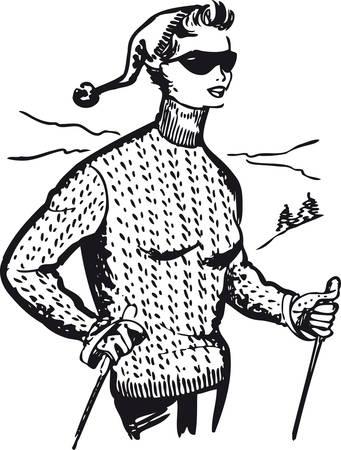 Well-dressed woman on skis, Retro Vector Illustration