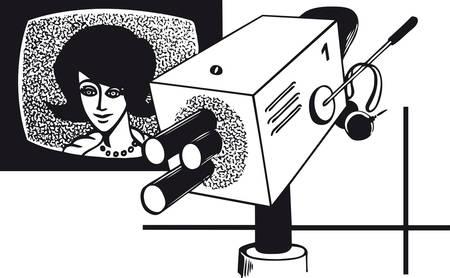 Television spokeswoman with camera, Retro Vector Illustration
