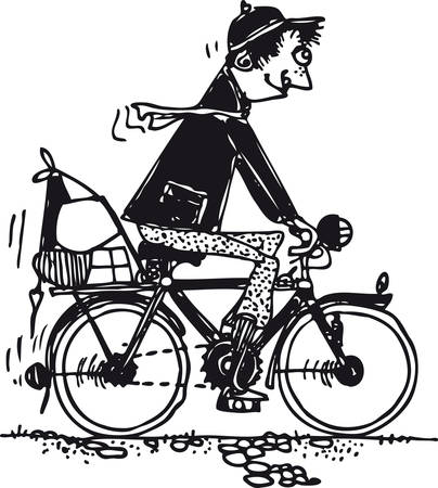 Funny man on a bicycle, Retro Vector Illustration 일러스트