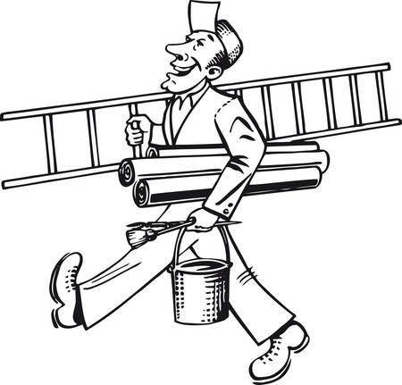 Happy painter, Retro Vector Illustration