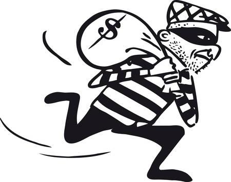 Running thief, Retro Vector Illustration