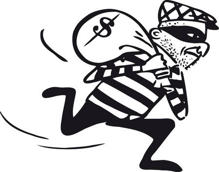 Running thief, Retro Vector Illustration