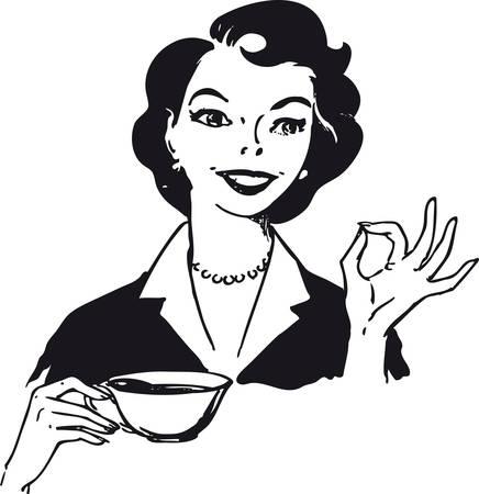 Mujer tomando café, ilustración vectorial retro Foto de archivo - 99734349