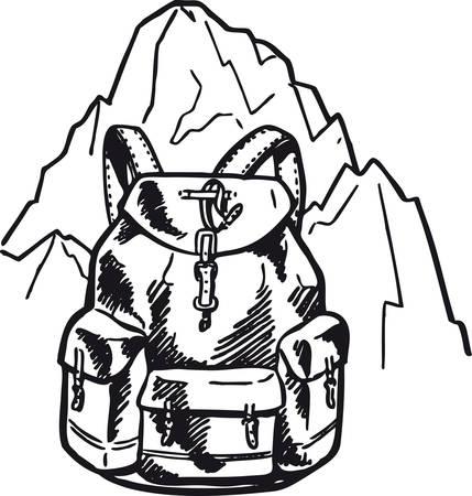 Backpack in front of a mountain, Retro Vector Illustration Vektoros illusztráció