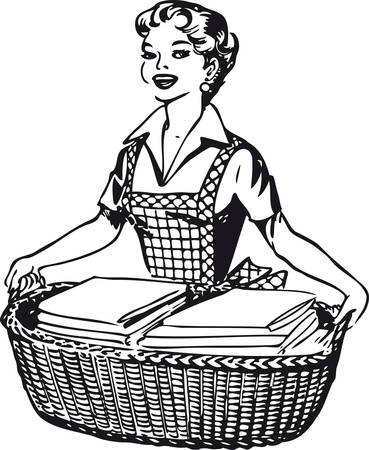 Happy housewife, Retro Vector Illustration 일러스트