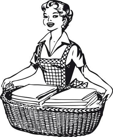 Happy housewife, Retro Vector Illustration Vettoriali