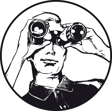 Man with binoculars, Retro Vector Illustration
