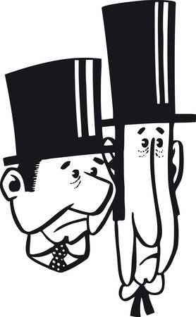 Two men with top hats, Retro Vector Illustration Ilustrace