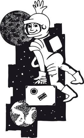 Astronaut with suitcase, Retro Vector Illustration Ilustrace