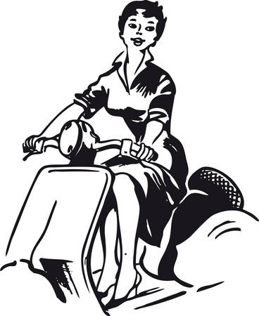 Woman on a vespa, Retro Vector Illustration