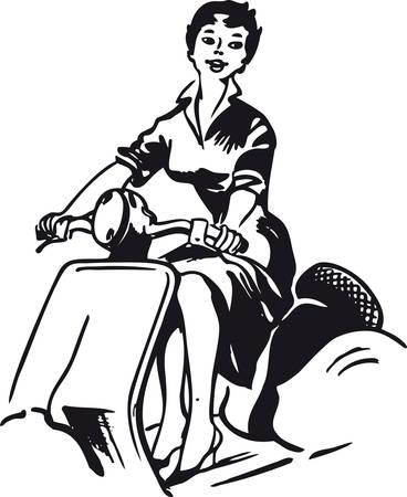 Vrouw op een vespa, Retro vectorillustratie