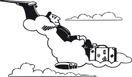 Traveling man on a cloud, Retro Vector Illustration
