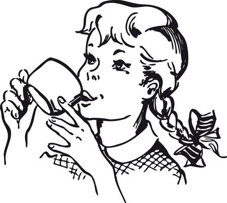 Girl drinking a cup of Chocolate, Retro Vector Illustration