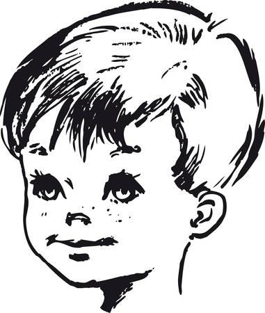 Cute little boy, Retro Vector Illustration