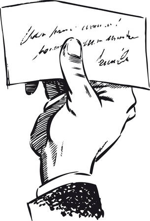 Man's hand with a note, Retro Vector Illustration