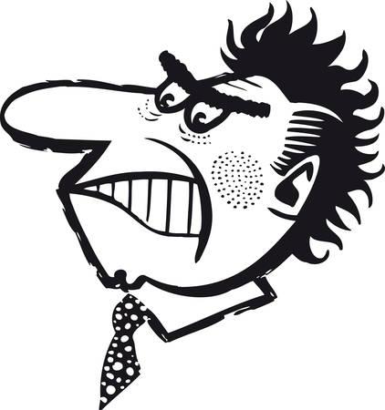 Enraged man, Retro Vector Illustration 일러스트