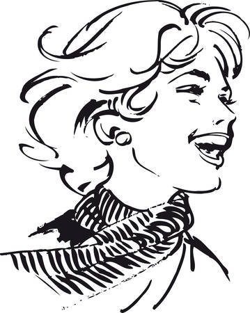 Laughing woman, Retro Vector Illustration