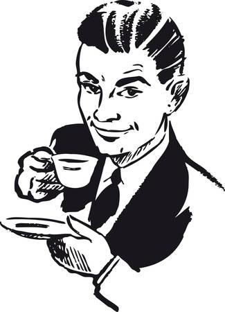 Man drinking coffee, Retro Vector Illustration Illustration