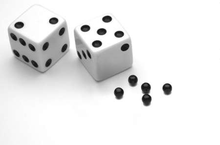 Black and White Dice, with lost Points Reklamní fotografie