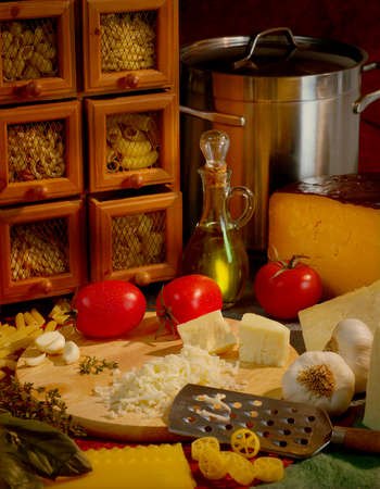 Italian Cuisine with cheese, garlic and tomatoes