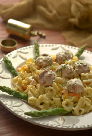 Meatballs with Pasta and Aspargagus
