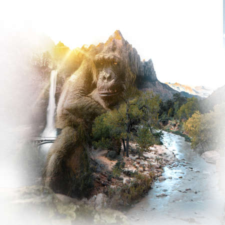 Double exposure of chimpanzee sitting on gray stone and mountain beside the river and waterfall Reklamní fotografie