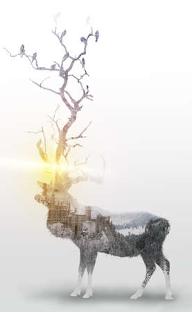 Double exposure of deer and birds in tree and castle on frozen mountain