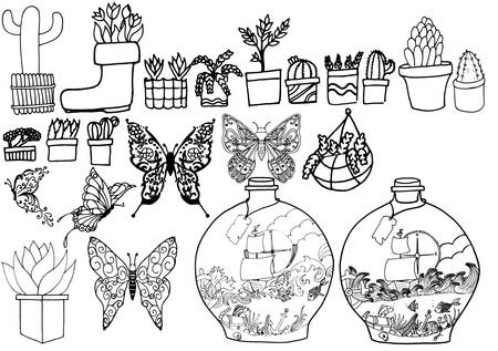 a selection of hand drawn images to color in, ranging from plants to butterflies and vases with a story inside.