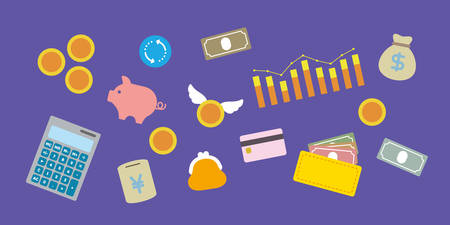 Set of vector icons about spending money, savings and money