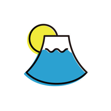 flat design vector icon [Moon and Mount Fuji] 矢量图像