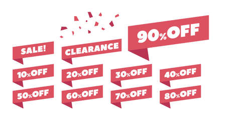 Sale Label collection set 10% off to 90% off, clearance, etc. vector illustration icons 向量圖像