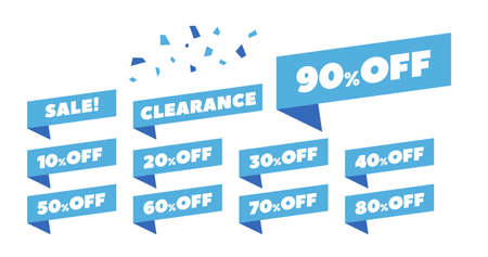 Sale Label collection set 10% off to 90% off, clearance, etc. vector illustration icons 版權商用圖片 - 157399915