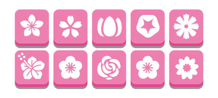Illustration icon set of various flowers
