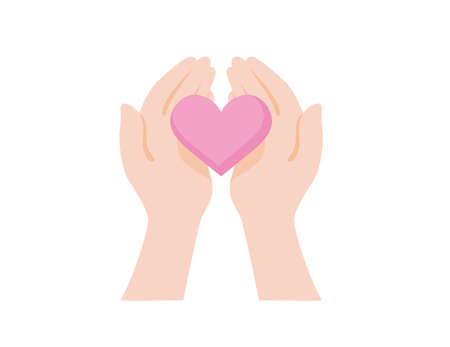 Compassion and sincerity, heartwarming illustrations, hand and heart icons Illustration