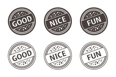 good, nice, fun stamp vector illustration icon set