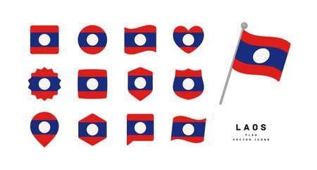 Lao flag icon set vector illustration Vektoros illusztráció