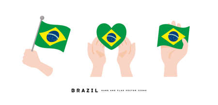 [Brazil] Hand and national flag icon vector illustration