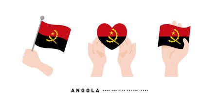 [Angola] Hand and national flag icon vector illustration Vektorové ilustrace