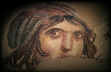 This photo was taken using a tripod with a 100mm lens  Museum Collection  Gaziantep Museum, This mosaic which was found during the zeugma excavations sin1992 long before Zeugma became a current issue,became the symbol of Zeugma because of the mysterious l Stock Photo - 17586132