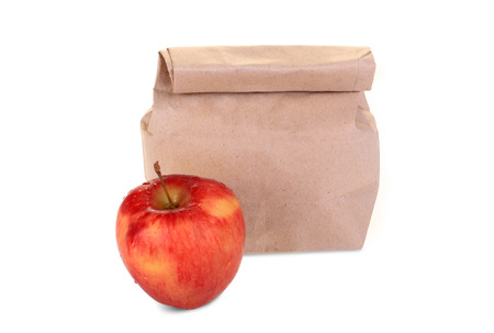 Brown Paper Bag and apple  photo