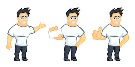 cute guy: Simple guy in white t-shirt. Cute, attractive, stylish mascot for your business, corporation, presentation.
