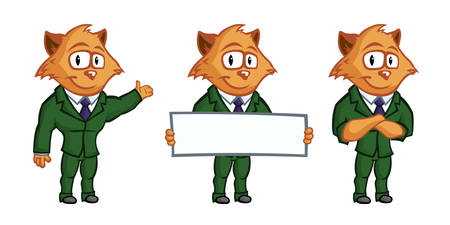 cat suit: Yellow cat mascot. Attractive kitten with big eyes and ears, in a bright and elegant green suit and purple tie.