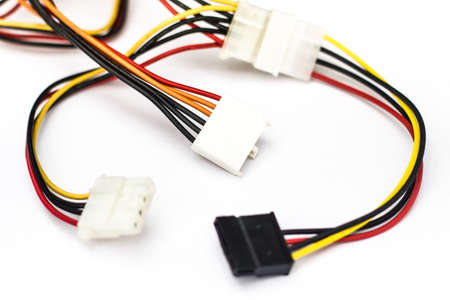 Power cables are placed on a white background