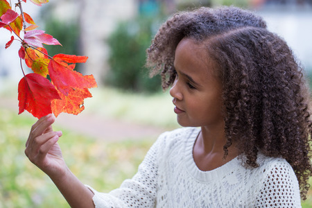 Little girl looking at autumn leaves